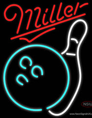Miller Neon Bowling Neon White Real Neon Glass Tube Neon Sign