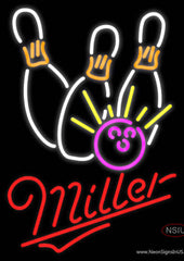 Miller Neon Bowling Neon White Pink Real Neon Glass Tube Neon Sign