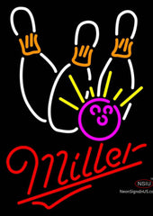 Miller Neon Bowling Neon White Pink Neon Sign