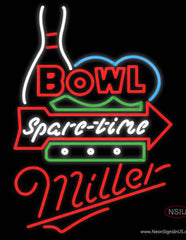 Miller Neon Bowling Spare Time Real Neon Glass Tube Neon Sign