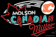 Miller Neon Molson Flames Hockey Real Neon Glass Tube Neon Sign