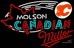 Miller Neon Molson Flames Hockey Neon Sign