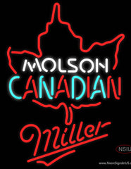 Miller Neon Molson Leaf Hockey Real Neon Glass Tube Neon Sign