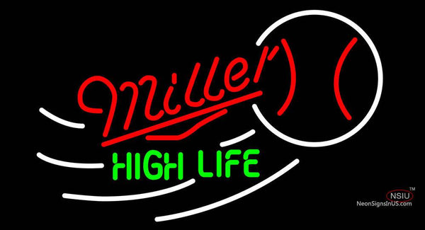 Miller High Life Baseball Neon Beer Sign