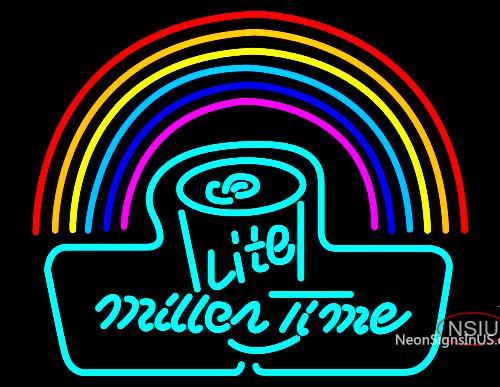 Miller Lite Time Can Rainbow Neon Beer Sign