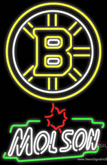 Boston Bruins With Molson Canadian Beer Real Neon Glass Tube Neon Sign