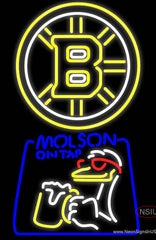 Molson Canadian With Boston Bruins Logo Real Neon Glass Tube Neon Sign