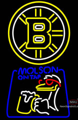 Molson Canadian With Boston Bruins Logo Neon Sign