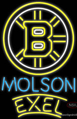 Molson Excel With Boston Bruins Real Neon Glass Tube Neon Sign