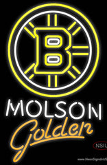 Molson Golden With Boston Bruins Real Neon Glass Tube Neon Sign