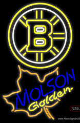 Molson Golden Maple Leaf With Boston Bruins Real Neon Glass Tube Neon Sign