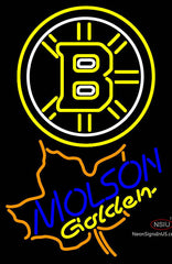 Molson Golden Maple Leaf With Boston Bruins Neon Sign