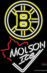 Molson Ice Maple Leaf With Boston Bruins Real Neon Glass Tube Neon Sign