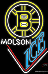 Molson Ice With Boston Bruins Real Neon Glass Tube Neon Sign