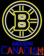 Molson Canadian With Boston Bruins NHL Real Neon Glass Tube Neon Sign