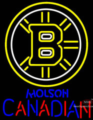 Molson Canadian With Boston Bruins NHL Neon Sign