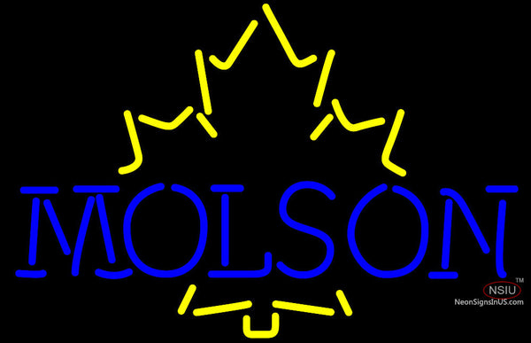 Molson Yellow Maple Leaf Neon Beer Sign
