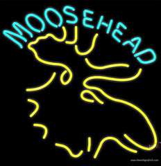 Moose Head Logo Beer Real Neon Glass Tube Neon Sign