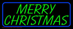 Blue Border Green Merry Christmas Handmade Art Neon Sign