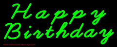 Green Cursive Happy Birthday Handmade Art Neon Sign