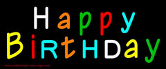 Multicolored Happy Birthday Handmade Art Neon Sign