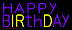Purple And Yellow Happy Birthday Handmade Art Neon Sign