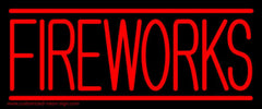 Red Fireworks Block Handmade Art Neon Sign