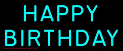 Turquoise Happy Birthday Handmade Art Neon Sign