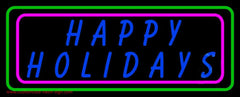 Blue Happy Holidays Block Handmade Art Neon Sign