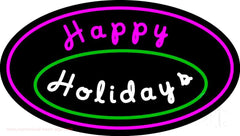 Cursive Happy Holidays Handmade Art Neon Sign