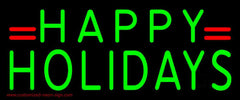 Green Happy Holidays Handmade Art Neon Sign