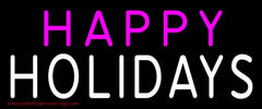 Pink Happy White Holidays Handmade Art Neon Sign