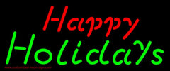 Red Happy Green Holidays Handmade Art Neon Sign