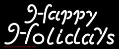 White Happy Holidays Handmade Art Neon Sign