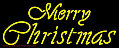 Yellow Cursive Merry Christmas Handmade Art Neon Sign