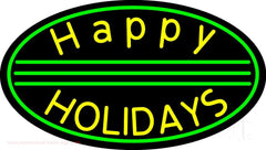 Yellow Happy Holidays Handmade Art Neon Sign
