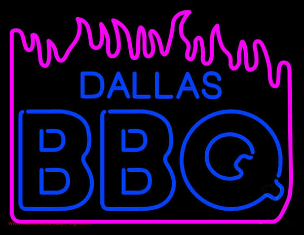 Dallas Bbq With Fire Neon Sign