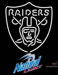 Natural Light Oakland Raiders NFL Neon Sign