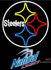 Natural Light Pittsburgh Steelers NFL Neon Sign
