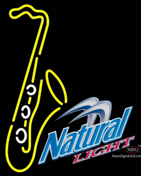 Natural Light Yellow Saxophone Neon Sign
