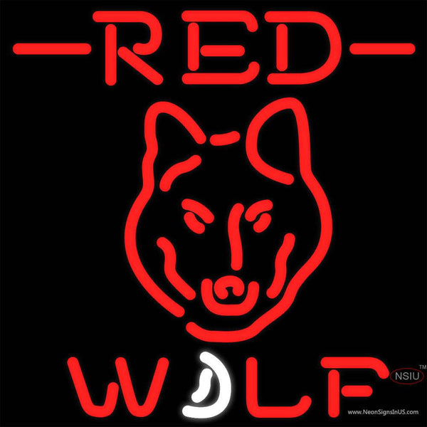 Red Wolf Head all Neon Beer Sign