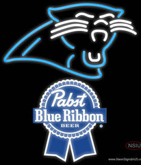 Pabst Blue Ribbon Carolina Panthers NFL Real Neon Glass Tube Neon Sign