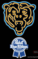 Pabst Blue Ribbon Chicago Bears NFL Real Neon Glass Tube Neon Sign