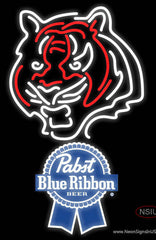 Pabst Blue Ribbon Cincinnati Bengals NFL Real Neon Glass Tube Neon Sign