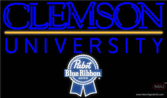 Pabst Blue Ribbon Clemson UNIVERSITY Real Neon Glass Tube Neon Sign