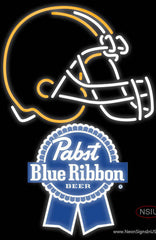 Pabst Blue Ribbon Cleveland Browns NFL Real Neon Glass Tube Neon Sign