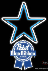 Pabst Blue Ribbon Dallas Cowboys NFL Real Neon Glass Tube Neon Sign