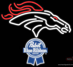 Pabst Blue Ribbon Denver Broncos NFL Real Neon Glass Tube Neon Sign