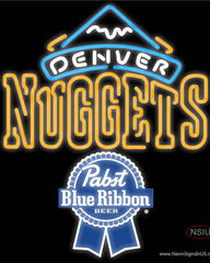 Pabst Blue Ribbon Denver Nuggets NBA Real Neon Glass Tube Neon Sign