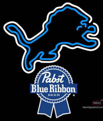 Pabst Blue Ribbon Detroit Lions NFL Neon Sign